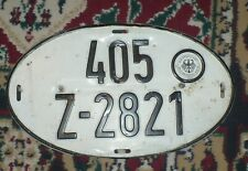 1960's GENMAN  AUTOMOBILE LICENSE PLATE / OVAL / 405 / Z-2821 / ORIGINAL PAINT