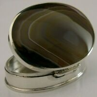 BEAUTIFUL SOLID SILVER CARAMEL AGATE TRINKET PILL BOX 2009 DAVID SCOTT WALKER