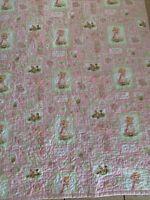 "Vintage Holly Hobbie Quilted Blanket Handmade  Toddler Baby Blanket 50 X42"" Pink"