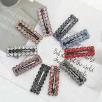 2PCS Women's Crystal Snap Hair Clip Hairpin Barrette Slide Hair Pin Accessories