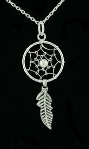 Solid 925 Sterling Silver Dream Catcher Feather Pendant Necklace