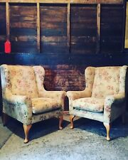 Pair Vintage Queen Anne Armchairs St Michael Marks And Spencers Floral Fabric