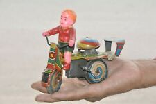 Vintage Wind Up Litho Boy Riding Tricycle Tin Toy