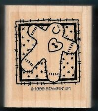 GINGERBREAD MAN COOKIE Quilt Square Gift Tag Stampin Up! Wood Mount RUBBER STAMP