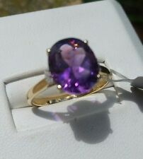 3.29 cts Genuine Moroccan Amethyst Solitaire Size 7 Ring 10k Yellow Gold