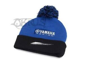 Genuine Yamaha 18 Paddock Blue Black & Blue Adult Bobble Beanie Hat