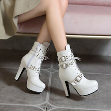 Women Shoes Platform Ankle Boots Buckle Studs Strap Lace High Heels Booties Zip