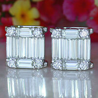 2.00 TCW Baguette Cut Diamond Stud Earrings Solid 10K White Gold