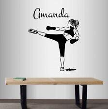 Vinyl Decal Kickboxing Boxer Martial Art Girl Customized Name Woman Sticker 2418