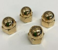 4 YAMAHA XS650 GOLD ACORN EXHAUST NUTS pipes cafe xs 650 chopper bobber 10mm
