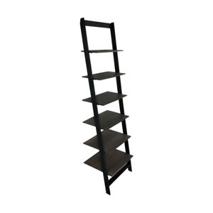 6-Tier Wall Stand Ladder Bookcase (Black)