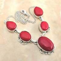 "Handmade Red Coral Jasper Gemstone 925 Sterling Silver Necklace 15"" #N01710"