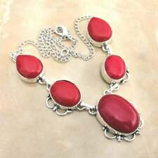 "Handmade Red Coral Jasper Gemstone 925 Sterling Silver Necklace 15"" #N01710"