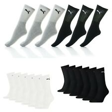 Puma 6 Pair Crew Socks Unisex Cotton Rich Quarter Trainer Sports