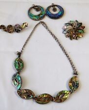 Necklace Brooch Earrings Pendant Set Vtg Mexico Abalone Sterling Silver