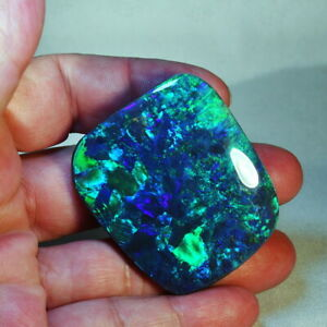 Black Opal Freeform Cabochon Lightning Ridge Green and turquoise pinfires 9.5 x 6.5 mm approx.Item 378