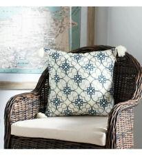 "Safavieh Mariella Decorative Pillow White, Blue 1'4"" x 1'4"" New"