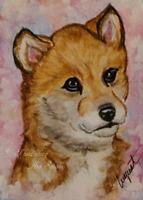 ACEO Wolf Pup Animal Wildlife Nature Artwork Watercolor Painting Original Art