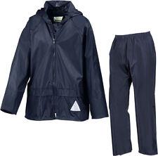 Result Kids Boys Girls Waterproof Jacket and Trousers Rain Suit + Bag - NAVY