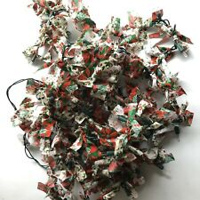Christmas Lights Garland Decoration 100 White Lights Red, White, Green Fabric