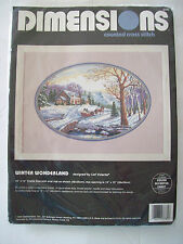 NEW 1995 Dimensions Counted Cross Stitch Kit Winter Wonderland Horse Sleigh XMas
