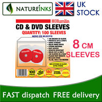 100 Humlin mini 8cm 8 CM cd dvd disc plastic heat sealed sleeves with flap
