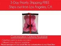 Pink Rose Bear, Flower Rose Teddy Bear Wife Girlfriend Anniversary