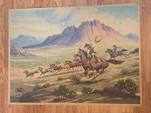 Original 1930's Till Goodan Western Cowboy Lithograph Print - Mustang Runners