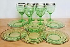 6 Anchor Hocking Block Optic Green Wine Goblets Plates w/ Gold Trim 1929 to 1933