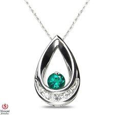 May Birthstone Emerald & Diamond Pendant in 10k White Gold