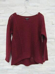 Eileen Fisher Burgundy Alpaca Knit Cable Open Stitch Hi-Lo Hem Sweater XS
