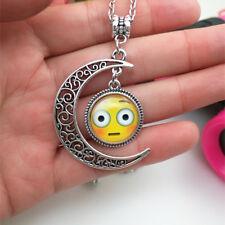 Emoji face stare Emoticon moon Cabochon Glass chain pendant necklace.