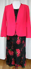 JACQUES VERT RED CURRANT RANGE BLACK RED SILK DEVORE SKIRT TOP RED JACKET S1J