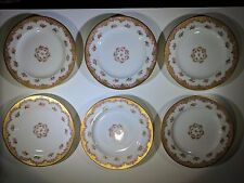 """6X - Theodore Haviland Simoges 6-1/4"""" Saucer Plates Swags of Roses & Gold France"""