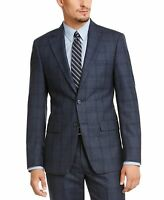 Calvin Klein Mens Blazer Blue Size 40 Long Plaid Slim Fit Two Button $450 190