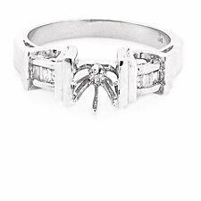 14K WHITE GOLD SEMI MOUNT BAGUETTE DIAMOND ENGAGEMENT RING SETTING ~ FREE S&H