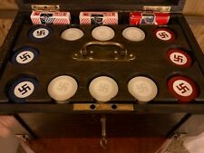 """Native American Four Winds """"Good Luck"""" Swastika Poker Set 300 Chips C-1920's"""