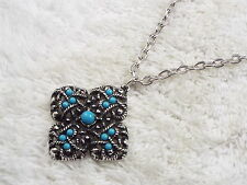 AVON Silvertone Blue Bead Filigree Pendant Necklace  (C59)