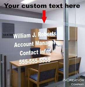 Custom Text Personalized Office Decor Door Vinyl Decal Sticker Entrance Graphics