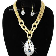 Cz Crystal Chain Link Pave Necklace Dangle Drop Earrings Set Yellow Gold GP NEW