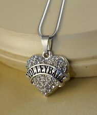 VOLLEYBALL small clear crystal hart pendant W/Steel Necklace family gift jewelry