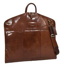 Real Leather Slim Suit Carrier Dress Garment Luxury Travel Bag Hlg644 Chestnut