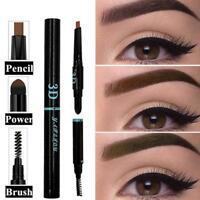 Waterproof Eyebrow Pencil + Brush + Eye Brow Liner Powder 3 in 1 Makeup Tool