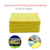 10-100pcs Soldering Iron Solder Tip Welding Cleaning Sponge Yellow Iron Cleaner