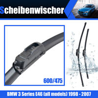 Escobillas Limpiaparabrisas Para BMW 3 Series E46 600/475mm Wiper 1998 - 2007