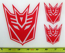 Transformers - Decepticon Set of 3 HQ Single Color Red Vinyl Sticker Decal