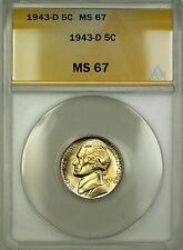 1943-D Wartime Silver Jefferson Nickel 5c Coin ANACS MS-67 Lightly Toned (D)