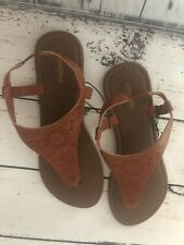 NWT Sonoma Women's Sandals Brown Ankle Strap Triangle Slip On Flat Sz L 9/10