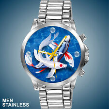Custom Tancho & Shusui Butterfly Koi Fish Dial in Man's NEW Stainless Watch