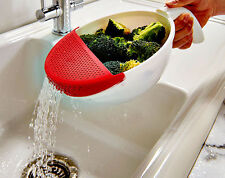 Soak And Strain Bowl Drain Spout Easy Grip Handle Vegetables Colander Food Prep